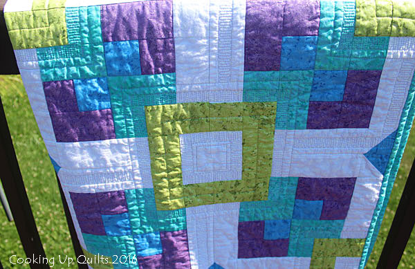 Quilt Detail - Ghost outline and Straight Line Quilting